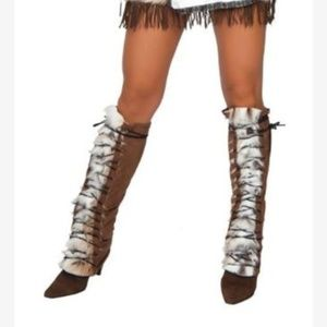 Fur native american indian leg warmer boot covers